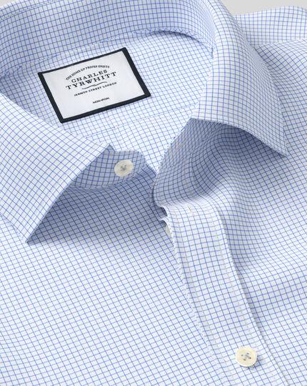 Bügelfreies Twill Hemd mit Kent-Kragenund Mini-Gitterkaros - Himmelblau