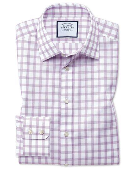 Extra slim fit windowpane check purple shirt