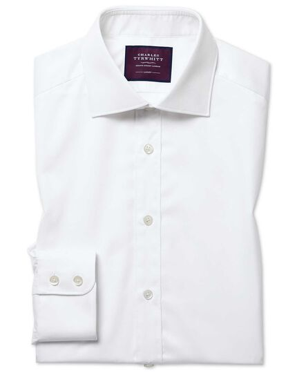 Chemise blanche en twill luxueux slim fit à col semi cutaway