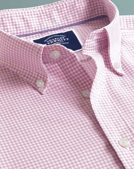 Classic fit pink short sleeve gingham soft washed non-iron stretch shirt
