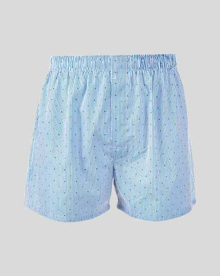 Fine Stripe With Dot Woven Boxers - Sky
