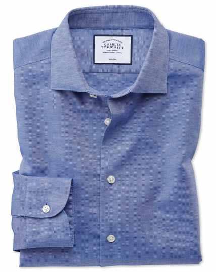 Business-Casual-Hemd Slim Fit Bügelfrei Baumwolle/Leinen in Blau