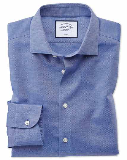 Slim fit business casual non-iron cotton linen blue shirt