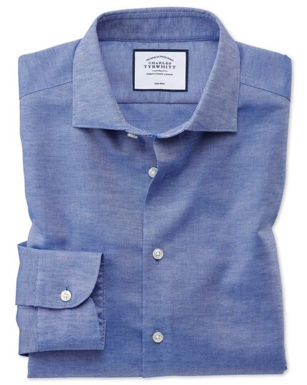 Extra slim fit business casual non-iron cotton linen blue shirt