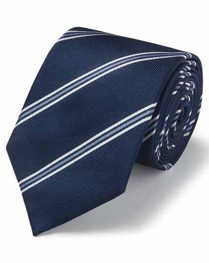 Cravate classique bleu marine en soie texturée à rayures multicolores