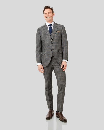 British Luxury Check Suit Jacket - Grey & Tan