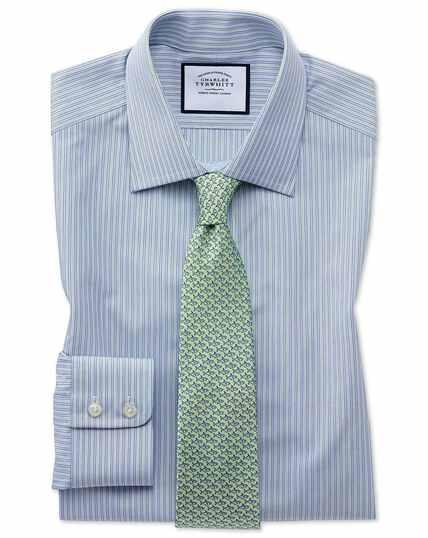 Extra slim fit Egyptian cotton poplin blue and green fine stripe  shirt