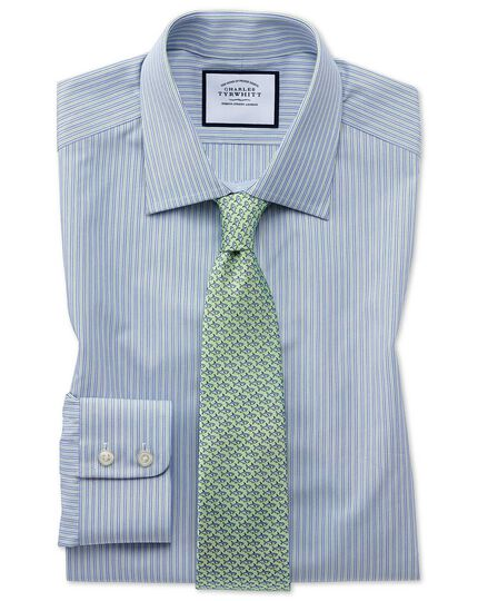 Extra slim fit Egyptian cotton poplin blue and green fine stripe  shirt