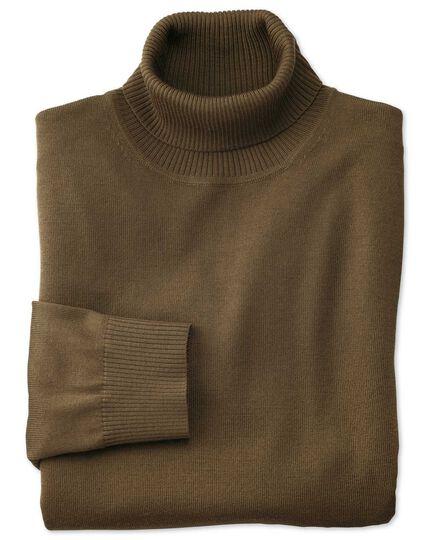 Pullover aus Merino mit Rollkragen in Oliv