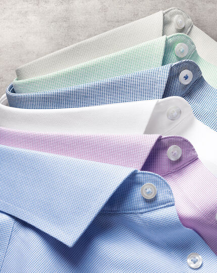 Spread Collar Non-Iron Ludgate Weave Shirt  - Sky