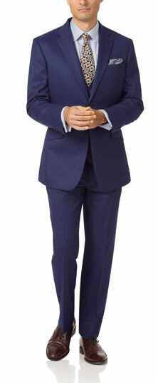Indigo slim fit hairline business suit