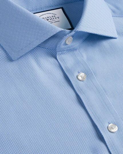 Bügelfreies Hemd aus Buckingham-Gewebe mit Kent Kragen - Blau