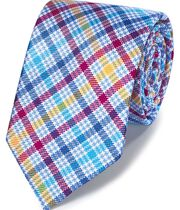 Multi check silk English luxury tie
