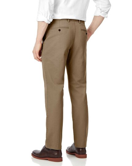 Tan single pleat soft washed chinos