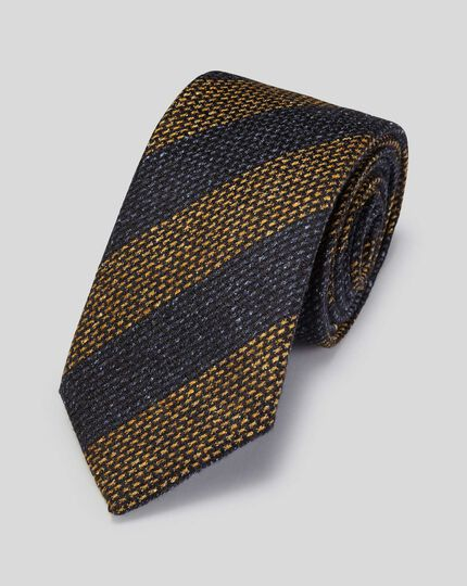 Wool Silk Stripe Italian Luxury Tie - Yellow & Navy