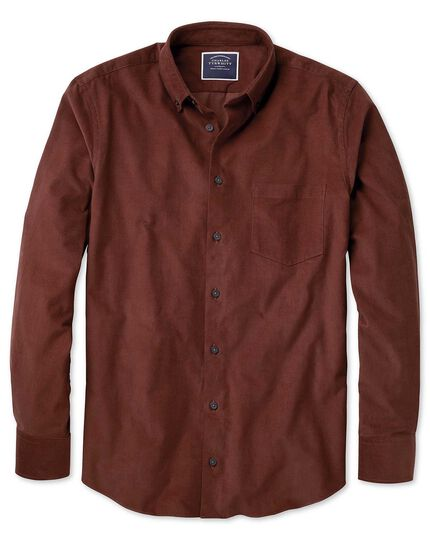 Classic fit plain rust fine corduroy shirt