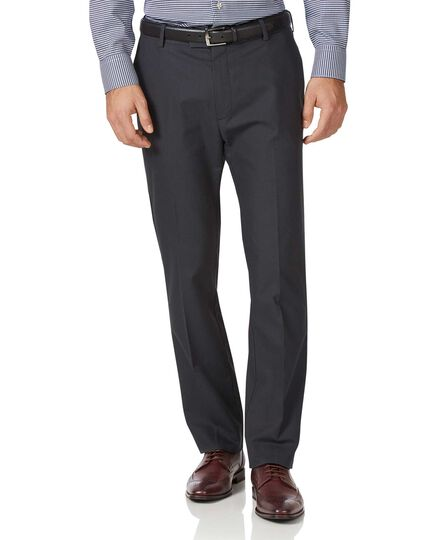 Charcoal classic fit stretch non-iron trousers