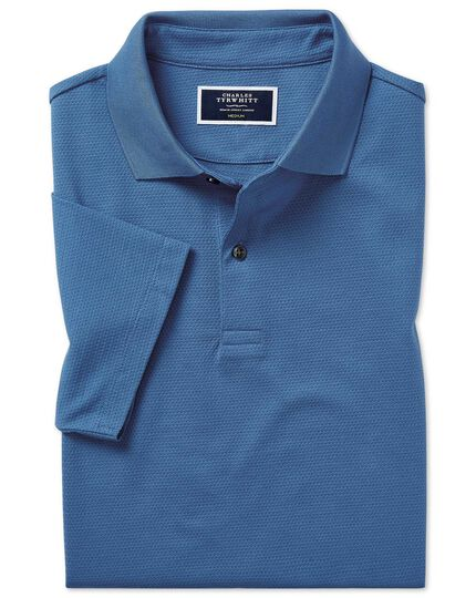 Cobalt blue jacquard aircool polo