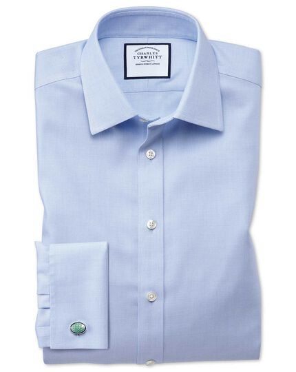 Classic fit non-iron step weave sky blue shirt