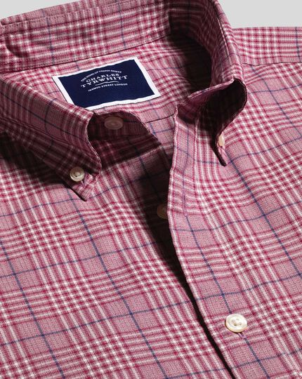Button-Down Collar Non-Iron Stretch Poplin Large Check Shirt - Berry