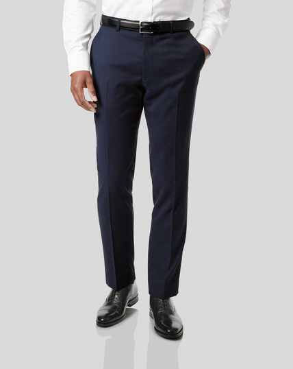 Stripe Birdseye Travel Suit Pants - Navy