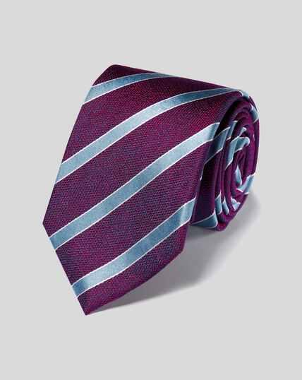 Klassische Krawatte aus Seide mit Streifen - Beerenrot & Himmelblau