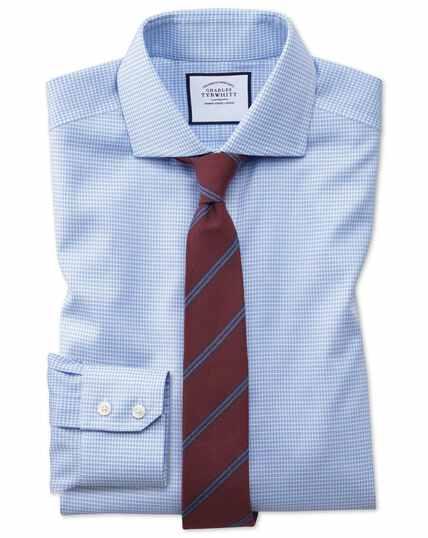 Extra slim fit non-iron sky blue puppytooth Oxford stretch shirt