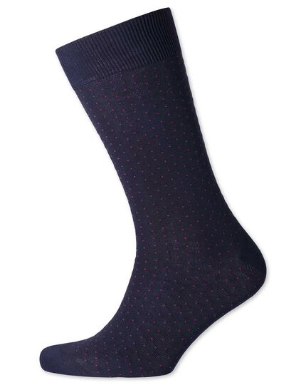 Navy and pink micro dash socks