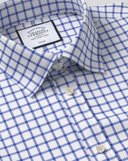 Chemise twill à motif quadrillé et col classique sans repassage - Bleu roi