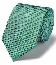 Green silk tonal semi plain classic tie