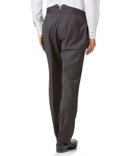 Black stripe classic fit morning suit trousers