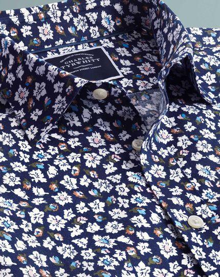Slim fit floral print navy short sleeve linen cotton shirt