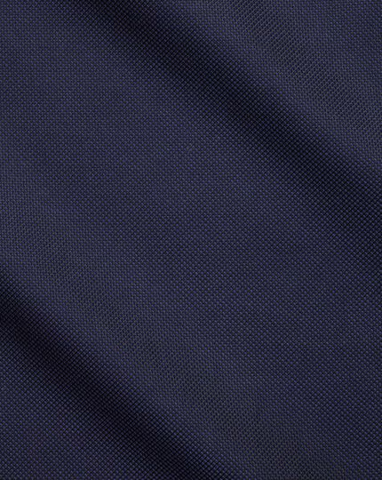 Classic fit semi-spread collar business casual navy textured shirt