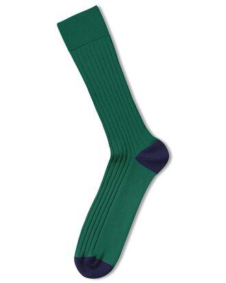 Green cotton rib socks