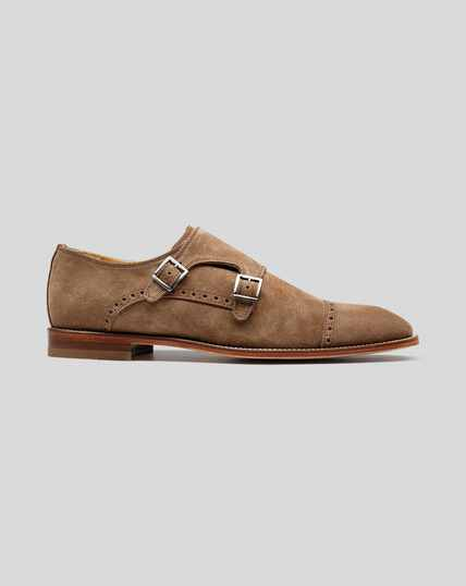 Flex Sole Suede Double Buckle Monk Shoes - Tan