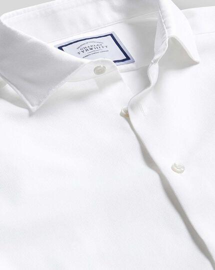Business Casual Collar Non-Iron Cotton Linen Oxford Shirt - White