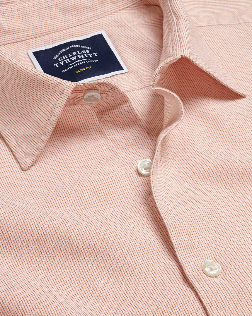 Brushed Cotton Linen Fine Stripe Shirt - Rust