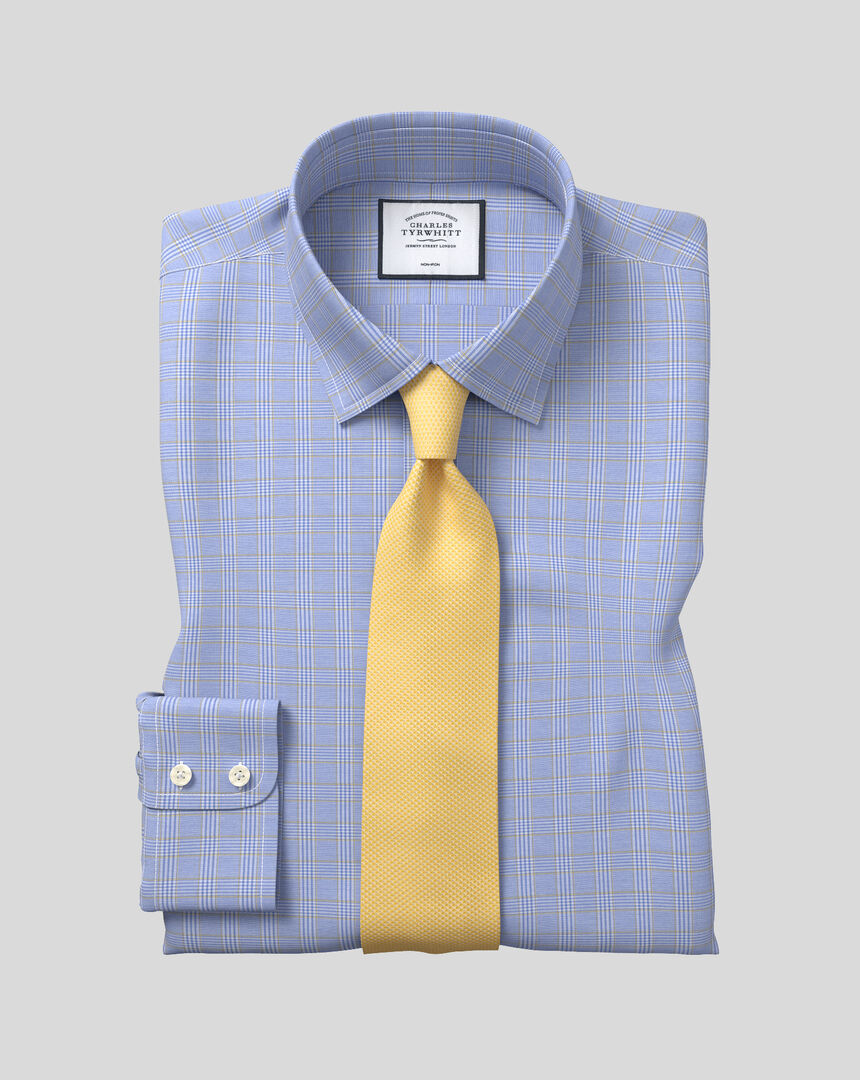 Bügelfreies kariertes Prince-of-Wales-Hemd mit Kent Kragen - Blau & Gold