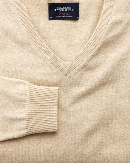 Stone cotton cashmere v-neck sweater