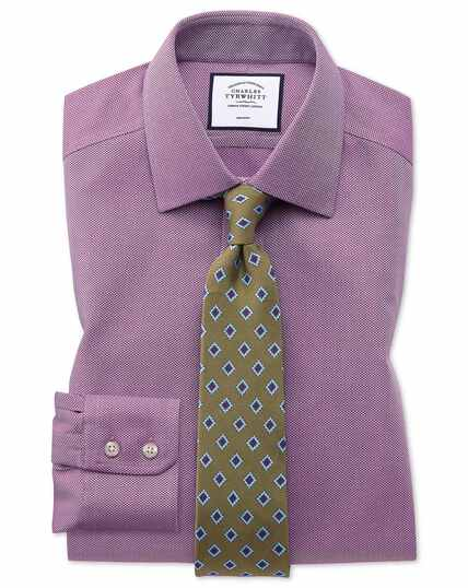 Slim fit non-iron berry arrow weave shirt