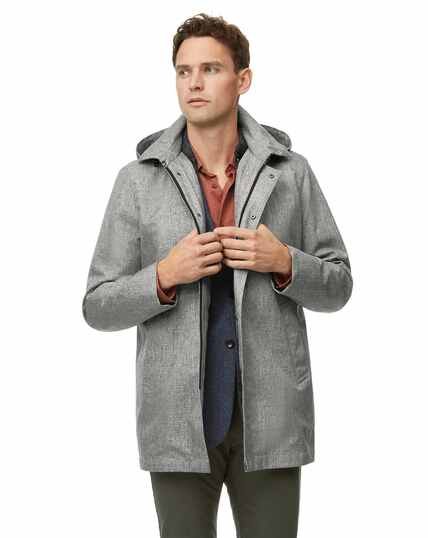 Light grey shower resistant hooded 3 in 1 raincoat