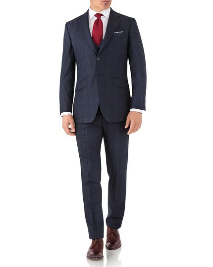 Blue Prince of Wales slim fit flannel business suit jacket