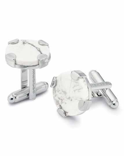 Marble clasp round metal cufflinks