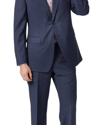 Mid blue classic fit twill business suit