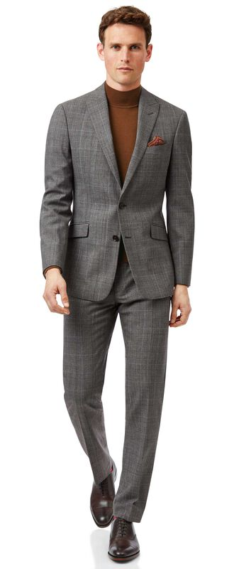 Grey with tan Prince of Wales check slim fit suit