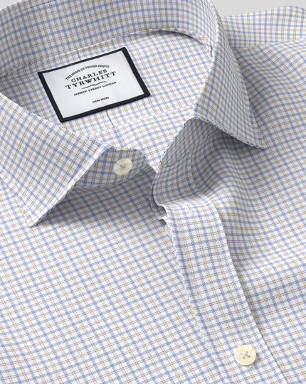 Cutaway Collar Non-Iron Twill Check Shirt - Orange & Blue