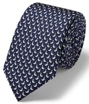 Navy duck print silk slim tie
