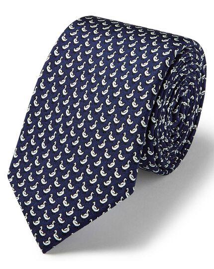 Navy duck print slim tie