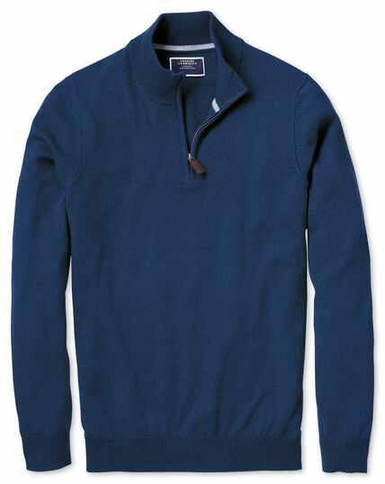 Pullover aus Kaschmir mit Reißverschlusskragen in Blau