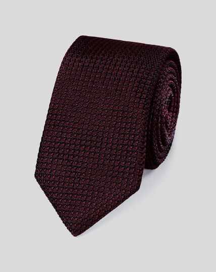 Cravate de luxe en soie grenadine italienne - Bordeaux